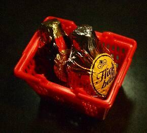 チョコのお酒をかごに入れましょう