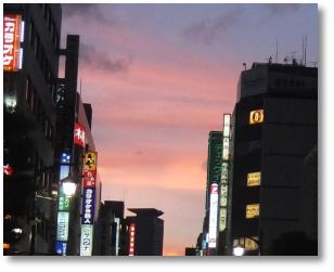 新橋烏森の夕景